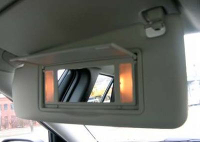 car sun visor with mirror and light